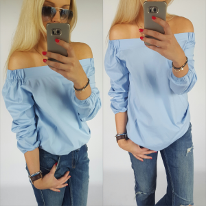 Pleated blouse - blue