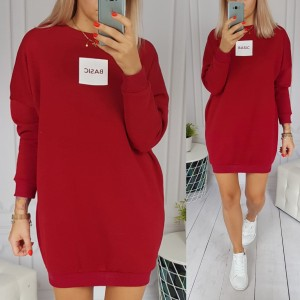 Ocieplana bluza/tunika Basic (bordo)